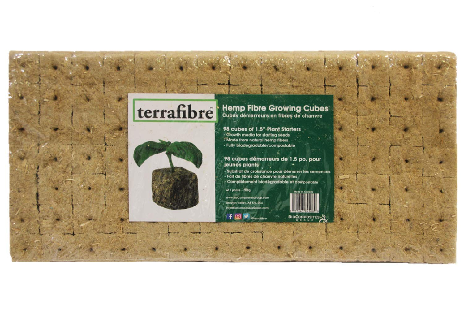 Hemp Fibre Growing Cubes (98, 1.5) 98 Pack of 1.5'' inch Cubes. Perfect Growth Media for Starting Seeds, Environmentally Friendly and Fully Biodegradable/Compostable by Terrafibre