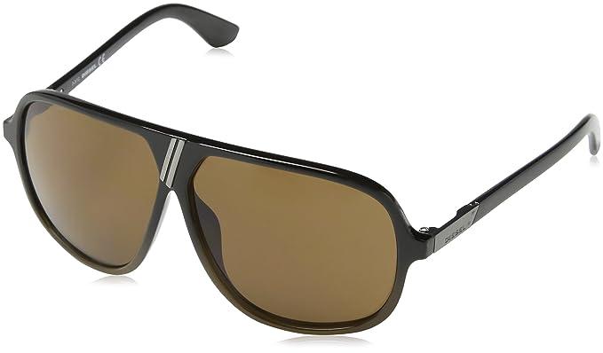 278f724af3 Diesel - Gafas de sol Aviador DL0043, Black & Brown Frame/Brown Lens ...