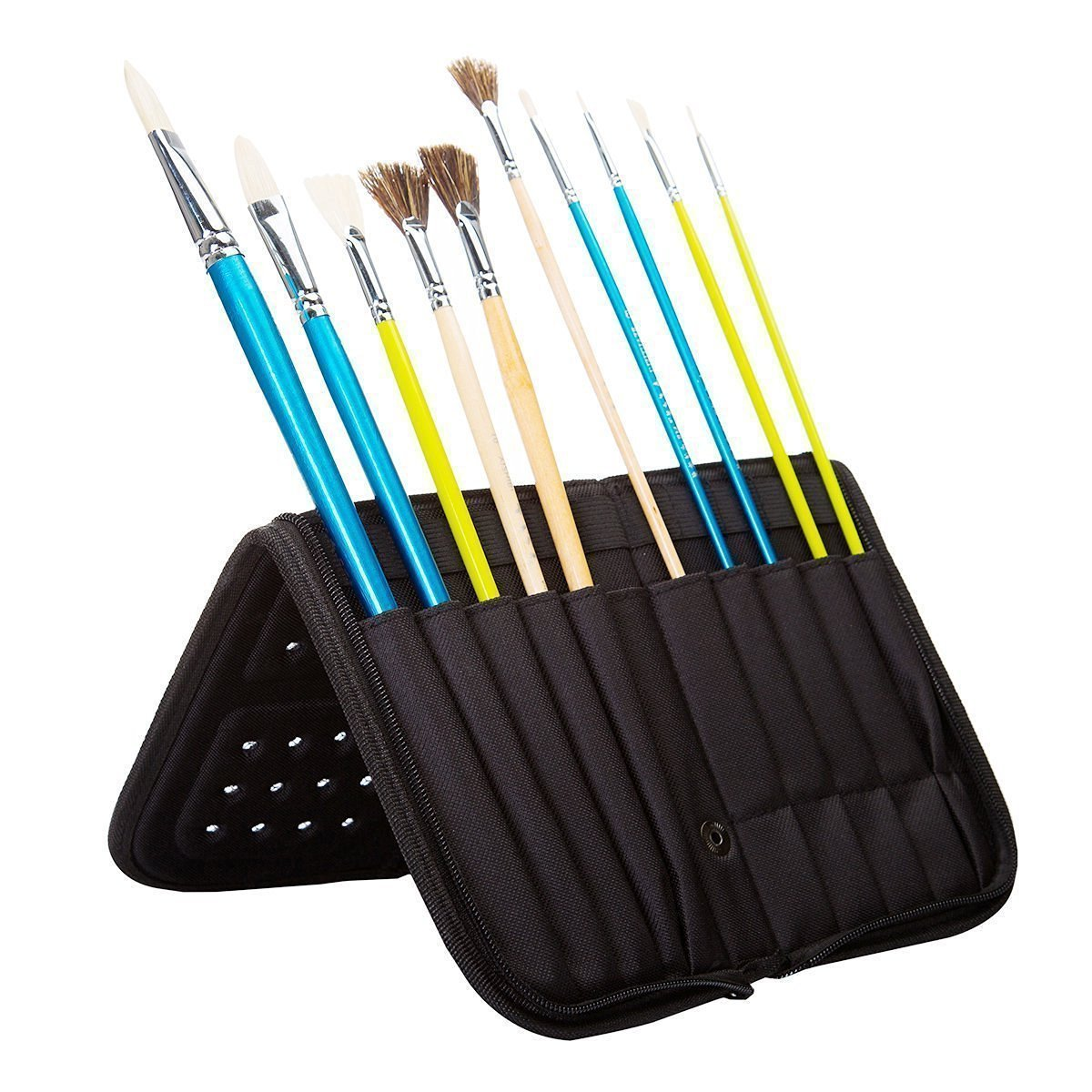 MEEDEN 11 X 10.5 Inch Mesh Paint Brushes Case Zippered Brush Holder, Short Handle, Black 4336938417