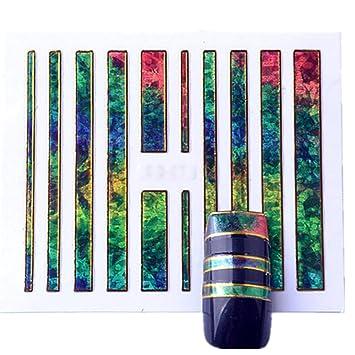 1 Pack 3d Mirror Nails Art Sticker Glitter Amazon Com