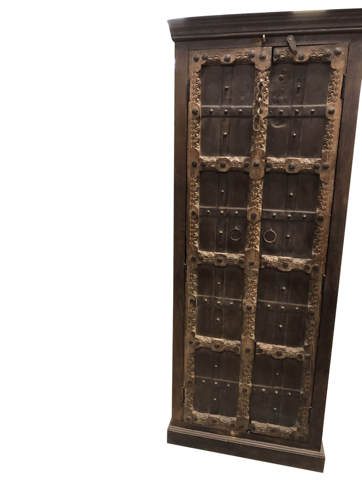 Mogul Interior Antique Indian Armoire Hand Carved Iron Nailed Brown Storage Wardrobe Cabinet Conscious Interiors Design by Mogul Interior (Image #2)