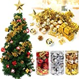 MVOWIZON Christmas Assorted Pendant Shatterproof Ball Ornament Set Seasonal Decorations with Reusable Hand-Help Gift Boxes Ideal for Xmas, Holiday and Party(32ct, Silver