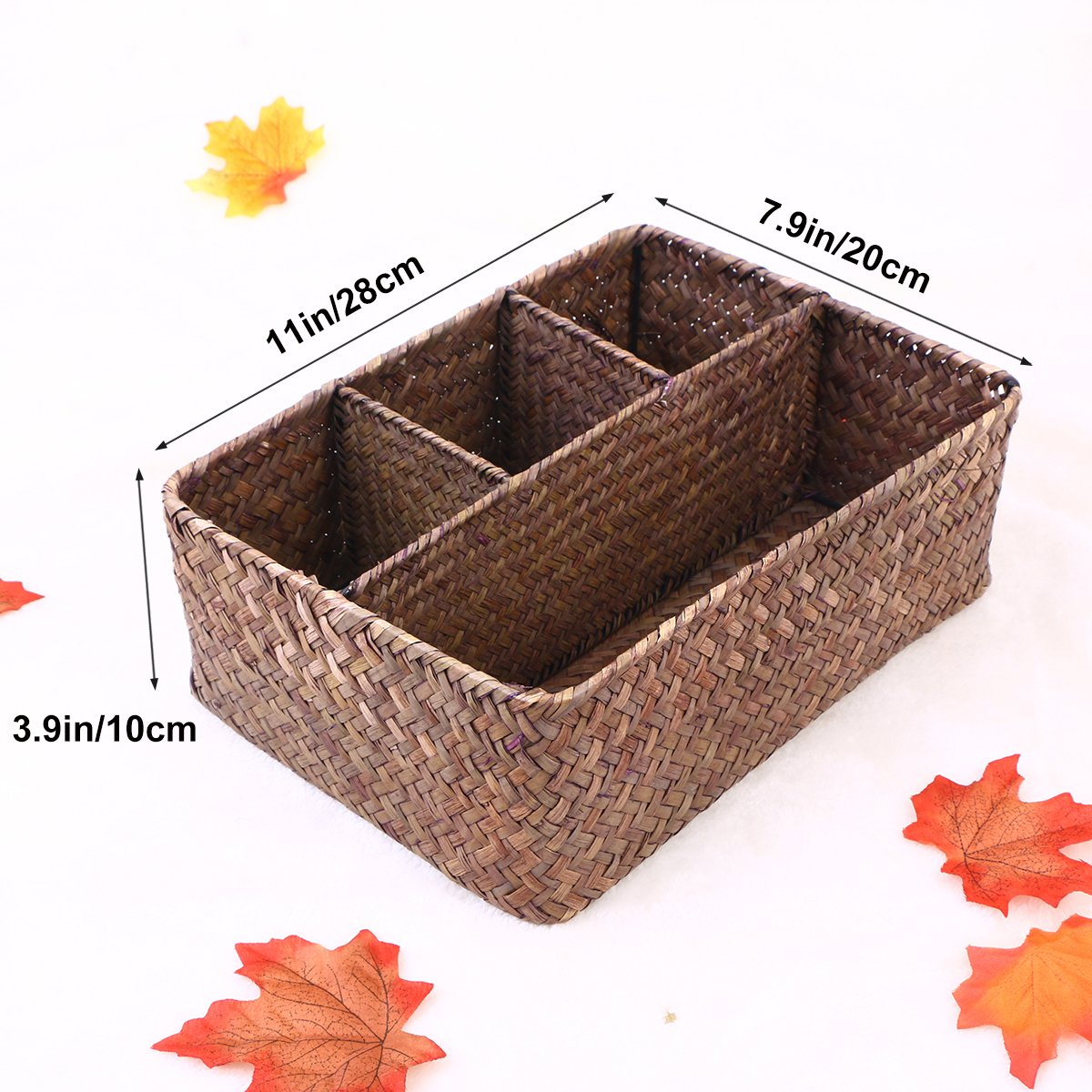 Marr/ón Oscuro ounona caja de Gadget recipiente apilable para alimentos con algas de mimbre cesta para cosm/éticos de papel