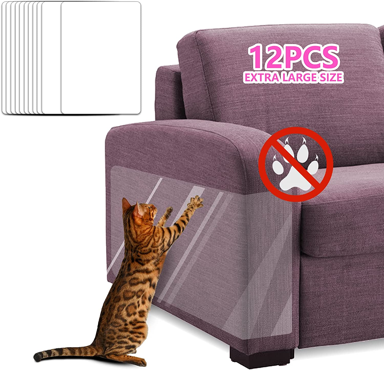ECOCONUT Pet Couch Protector, 12PCS XL Clear Cat Dog Claw Guards Pads, Discreet Cat Scratch Furniture Protector Pad, Furniture Protectors-Training Tape, Cover Protect Couch,Door,Walls,Mattress,Carpet
