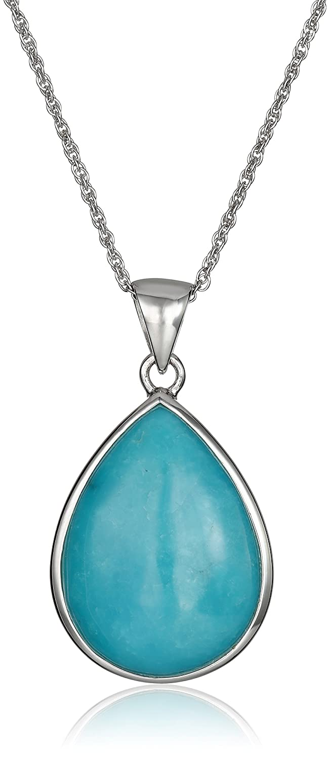 """Sterling Silver Stabilized Turquoise Inlay Teardrop Pendant Necklace, 18"""""""