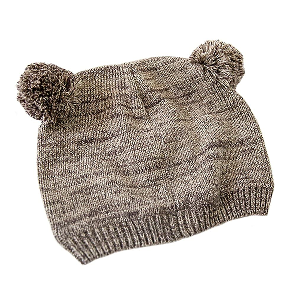Tortor 1Bacha Infant Baby Kid Cute Bear Pom Pom Knit Hat for Boy Girl