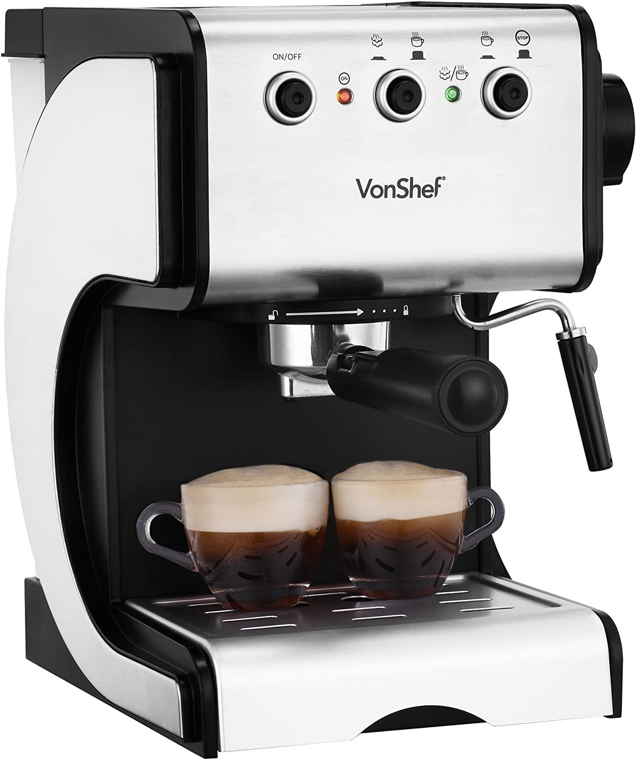 Vonshef 15 Bar Espresso Coffee Machine Maker Stainless Steel 15l Steam Control Dial Frothing Wand Removable Drip Tray Indicator Light