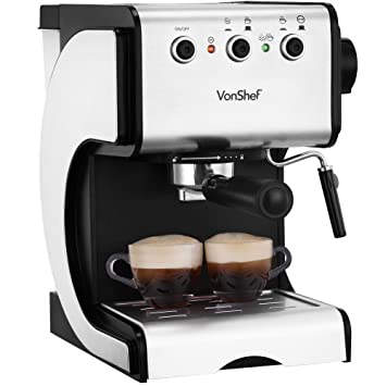 Acero inoxidable de primera calidad VonShef 1050W 15 Bomba de café express de la máquina del