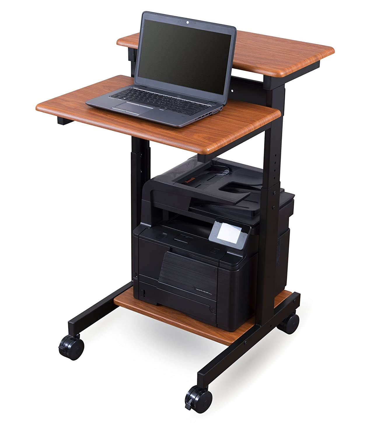 "Mobile Ergonomic Stand up Desk Computer Workstation (24"", Teak)"