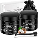 BESTOPE Teeth Whitening Charcoal Powder[2 Pack], Natural Activated Charcoal Teeth Whitener Powder with 2 Brush Oral Care Set (2.8 oz x 2)