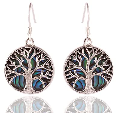 bf5c84064 DTPSilver - 925 Sterling Silver and Abalone Paua Shell Round Tree of Life  Earrings: Amazon.co.uk: Jewellery