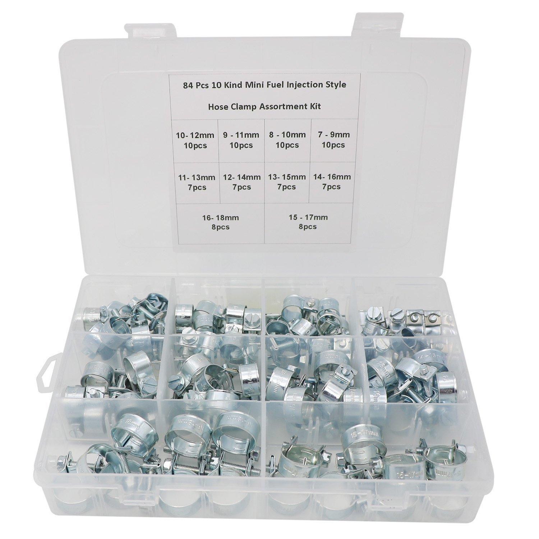84 Pcs 10 Kind Size Mini Fuel Injection Style Hose Clamp Assortment Kit