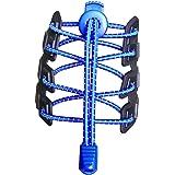 Canwn [3 Pares Cordones Elásticos para Zapatos, Atar y Sin Nudo Reflexivo Cordones de Zapatos con Longitud de 120cm para Maratón y Triatlón Atletas,Corredores,Niños, Ancianos,Discapacitado(Negros)