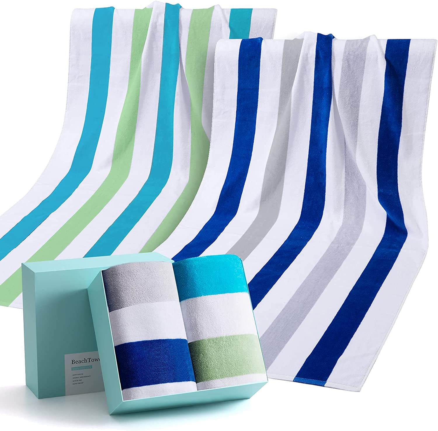 Large Beach Towel,100% Cotton Pool Towel and Colorful Beach Stripes Soft and Quick Dry Swim Towels Variety Pack with Gift Box(2 Pack)
