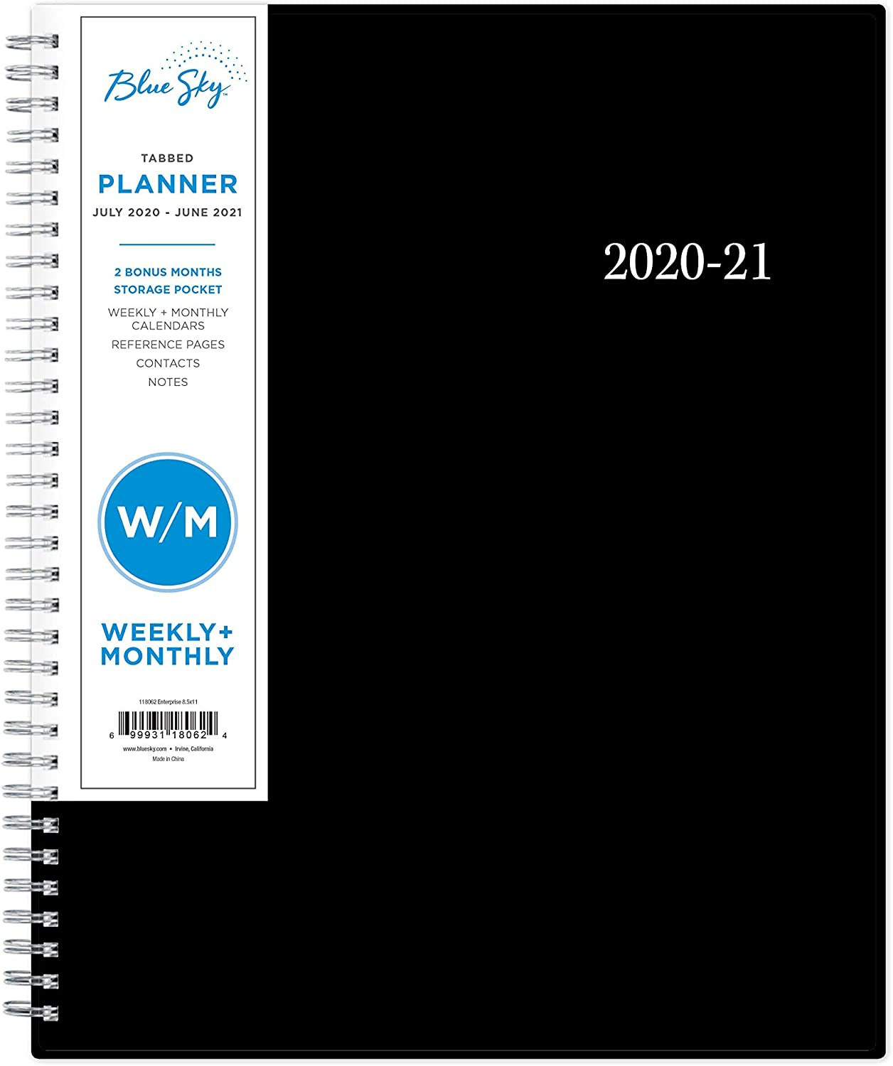 "Blue Sky 2020-2021 Academic Year Weekly & Monthly Planner, Flexible Cover, Twin-Wire Binding, 8.5"" x 11"", Enterprise (118062)"