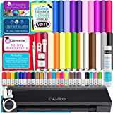 Silhouette Cameo 3 Limited Black Edition Bluetooth Starter Bundle with 26 Oracal 651 Sheets, Transfer Paper, Guide, Class, 24 Sketch Pens (24 sheets)