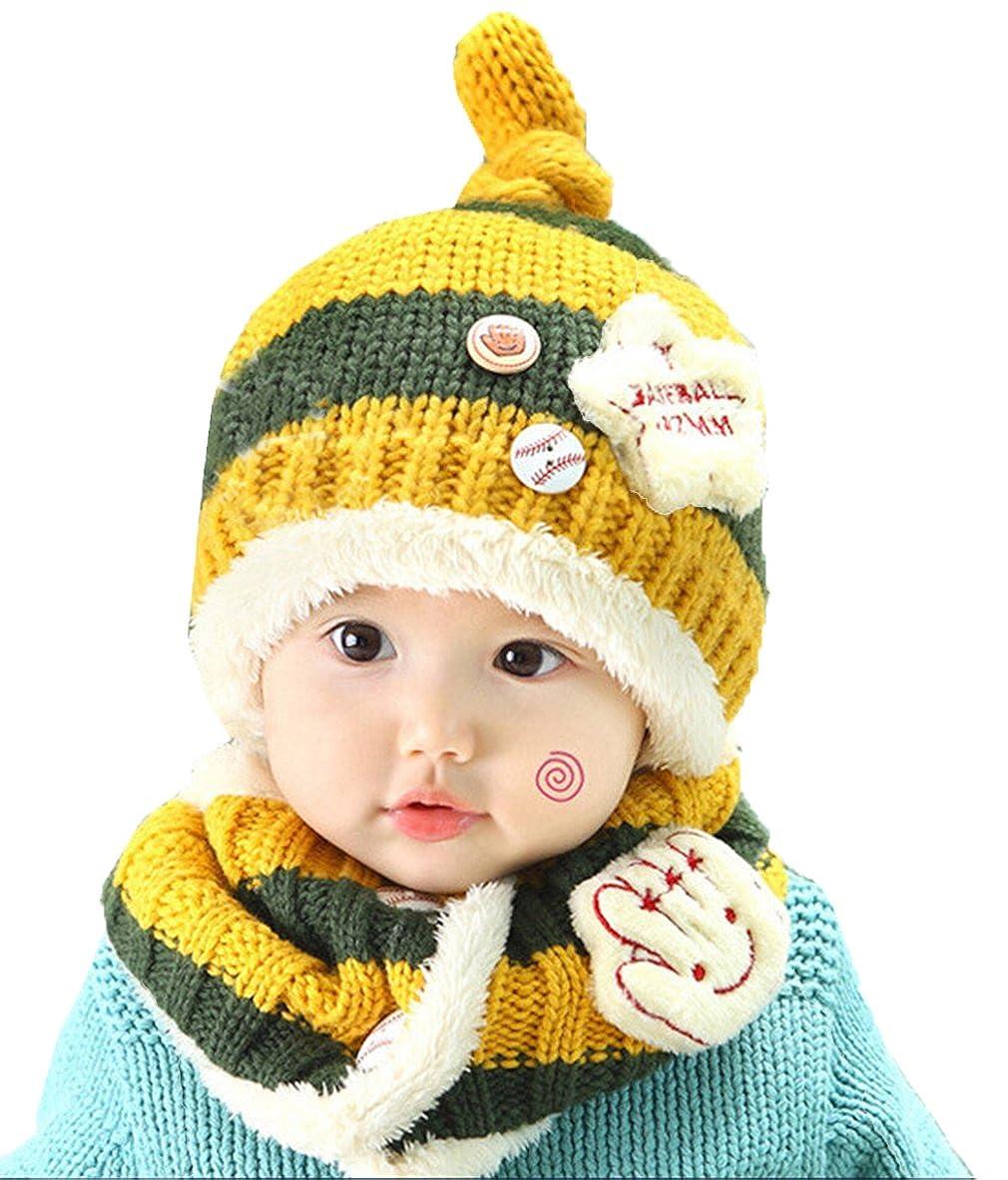 JT-Amigo Winter Baby Kids Hat Scarf Set Beanie Cap Baseball Design WinterHat005-Blue