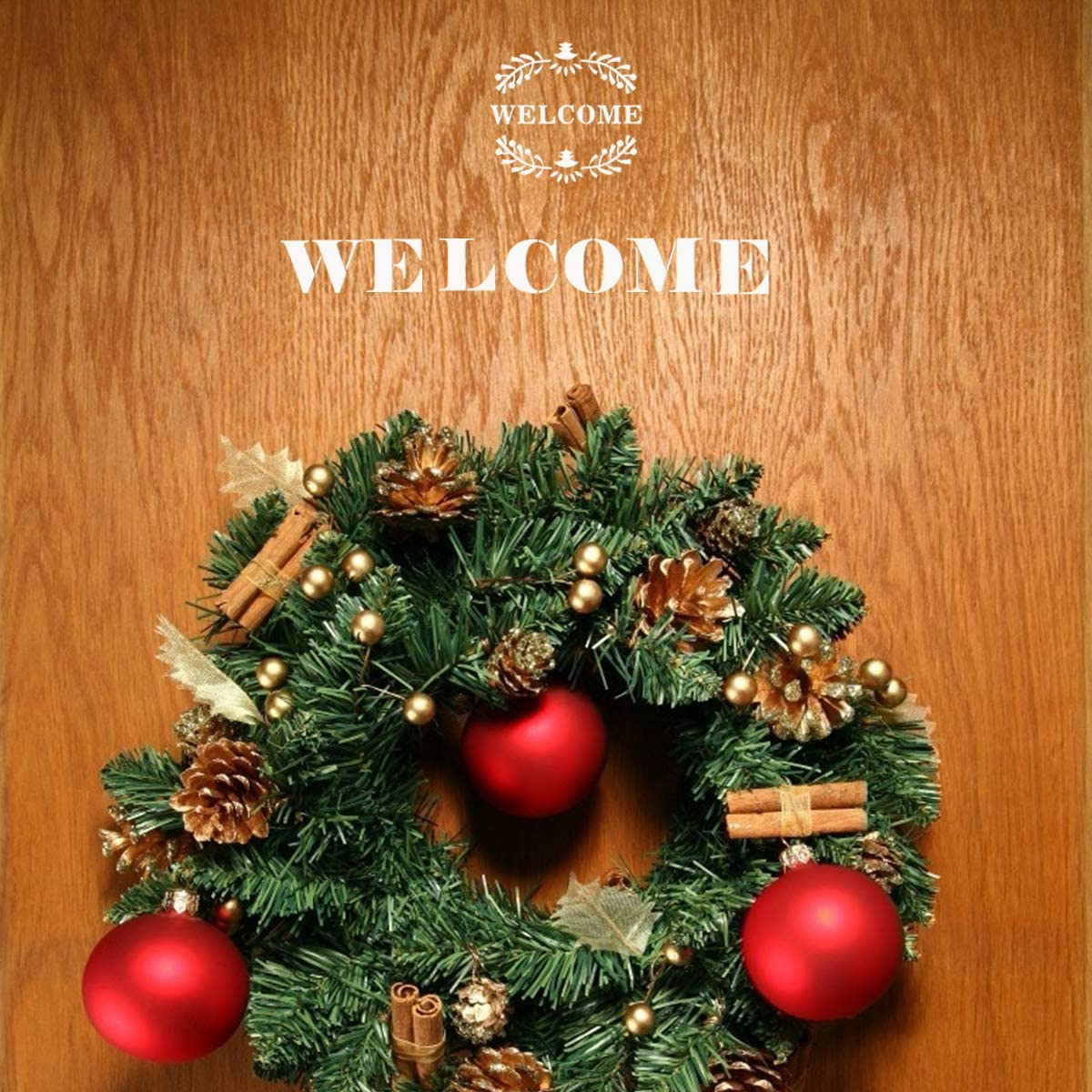 Biubee 18 Pcs Welcome Christmas Sign Porch Stencils Reusable and Sturdy Merry Christmas Stencil Making a DIY Welcome Sign Stencils for Creating Painting Beautiful Wood Signs and More
