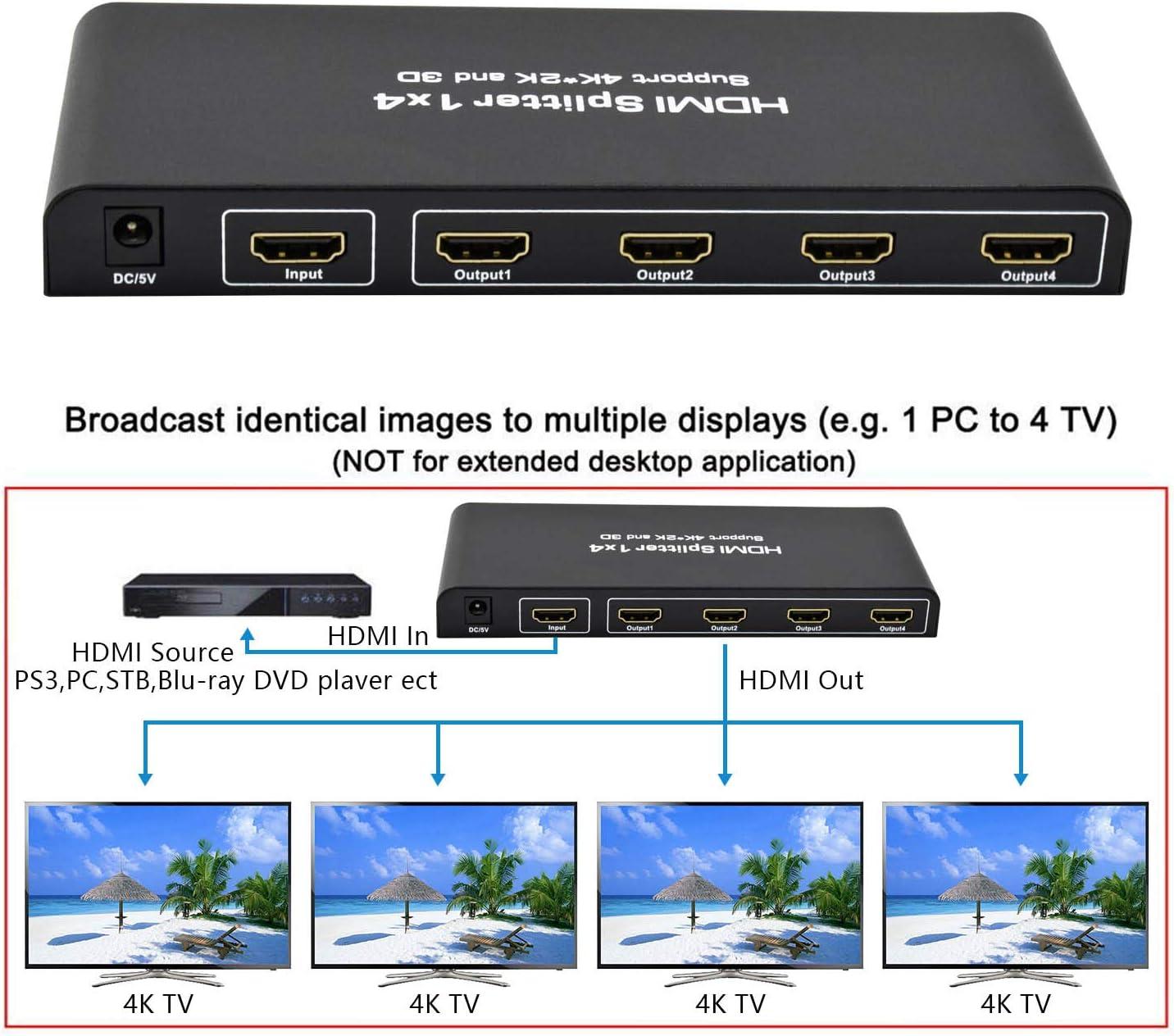 HDMI Splitter 4K,Ozvavzk Duplicador HDMI 1x4 Splitter 1 Entrada y 4 Salidas Soporta 4K,1080P para Xbox,PS4,PS3,BLU-Ray Player,HDTV,DVD,DVR