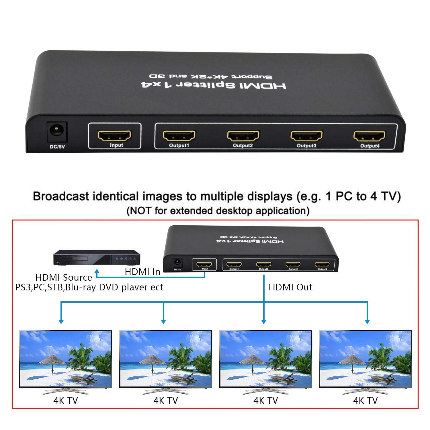 Neoteck HDMI Splitter 1 auf 4 1080P 1x4 HDMI Verteiler 1 IN 4 OUT HD Hub Smart Splitter 3D Aktiver Switcher f/ür HDTV PC Projector Sky Box PS3 PS4 Xbox STB