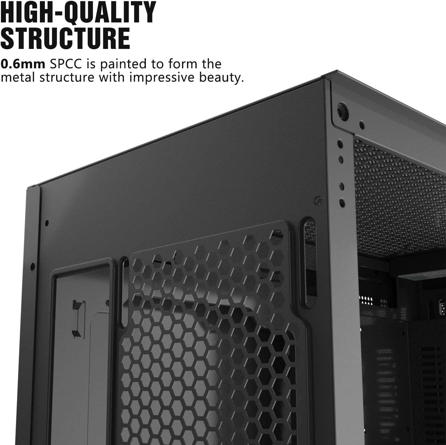 darkFlash Micro ATX Mini ITX Tower MicroATX Computer Case with Magnetic Design Wide Open Door Opening Swing Type Tempered Glass Side Panel DLM21 White
