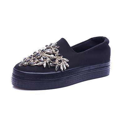 9aad4415320 Ladiamonddiva New Rhinestone Women Platform Shoes Breathable Black Shoe  Creeper for Lady slipony Slip on Thick