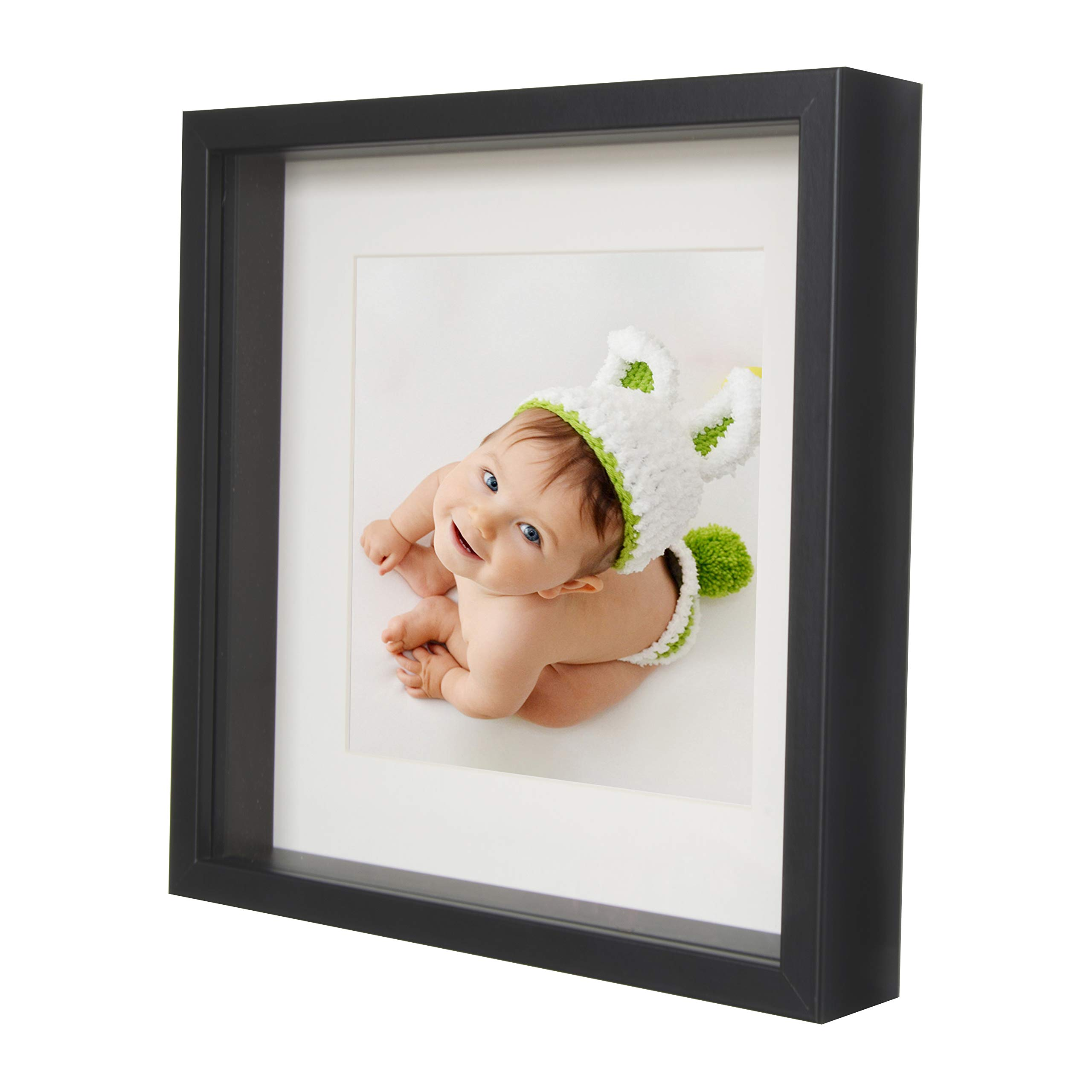 BD ART 9x9 (23 x 23 x 4.7 cm) Black Shadow Box 3D Square Picture Frame with Mat for 5x5 inch Photo, Glass Front by BD ART