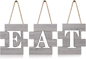 3 Pieces Eat Sign Wall Decor, Wooden EAT Letters Wall Hanging Decoration, Rustic Farmhouse Sign for Home Dining Living Room Bar Cafe Kitchen (Retro Color)