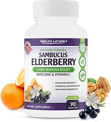 Sambucol Black Elderberry plus Vitamin C with Zinc Supplement – 3 Way Immune Support for Adults – Concentrated Black Elderberry Capsule Equal to 6000mg of Elderberry with Vitamin c and Zinc Picolinate