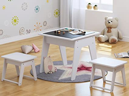 Utex Kids 3pcs Wooden Table And 2 Stools/Chairs Set, Chalkboard Table For  Child