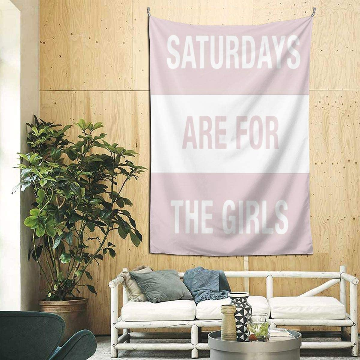 Aopit Labs Wall Tapestry Saturdays are for The Girls Pink Home Decor Extra Large Tablecloths for Bedroom Living Room Dorm Room Music Party Banner