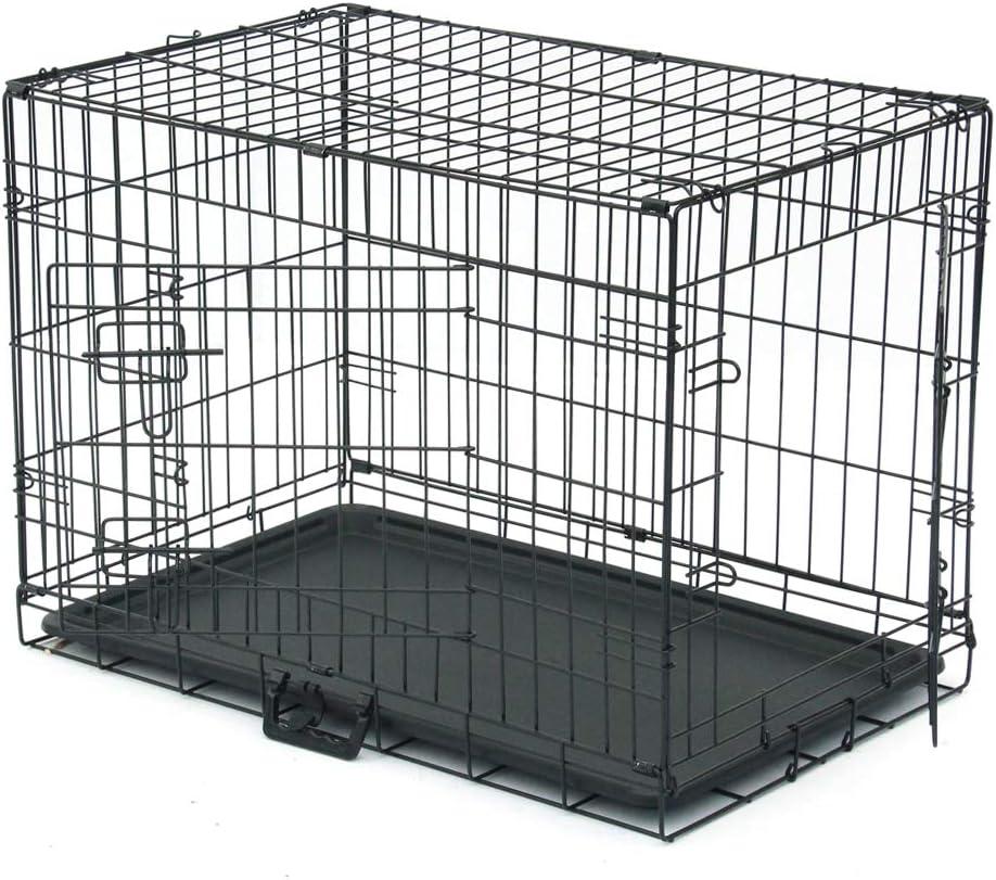 "30"" Pet Kennel Katze Rabbit Folding Steel Crate Animal Playpen Draht Metal Cage Black"