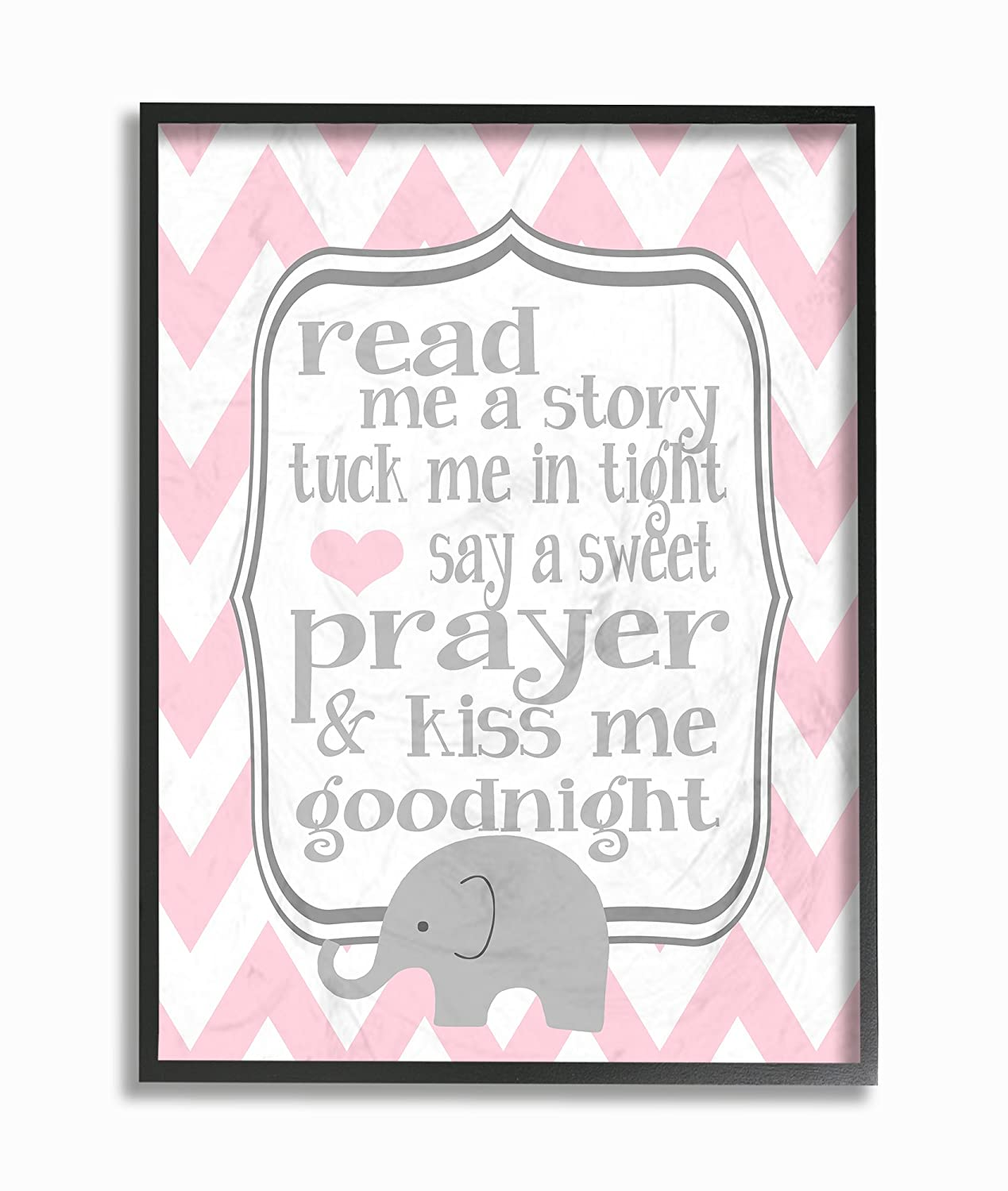 11 x 0.5 x 15 The Kids Room by Stupell Art Wall Plaque Read Me A Story//Elephant in Pink Chevron Proudly Made in USA