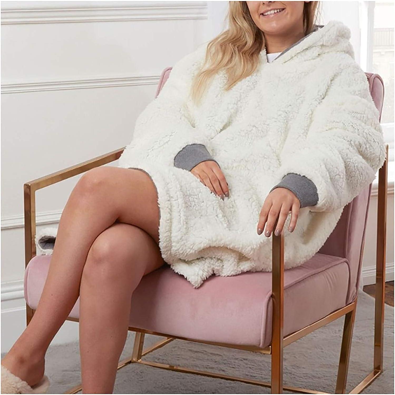 ZHBD Robes Winter-Maxi-Hoodie Frauen Riesen-Mantel-weiche Decke mit Sleeve Warm Robe TV Blanket Hoodies Frauen 92.28D J