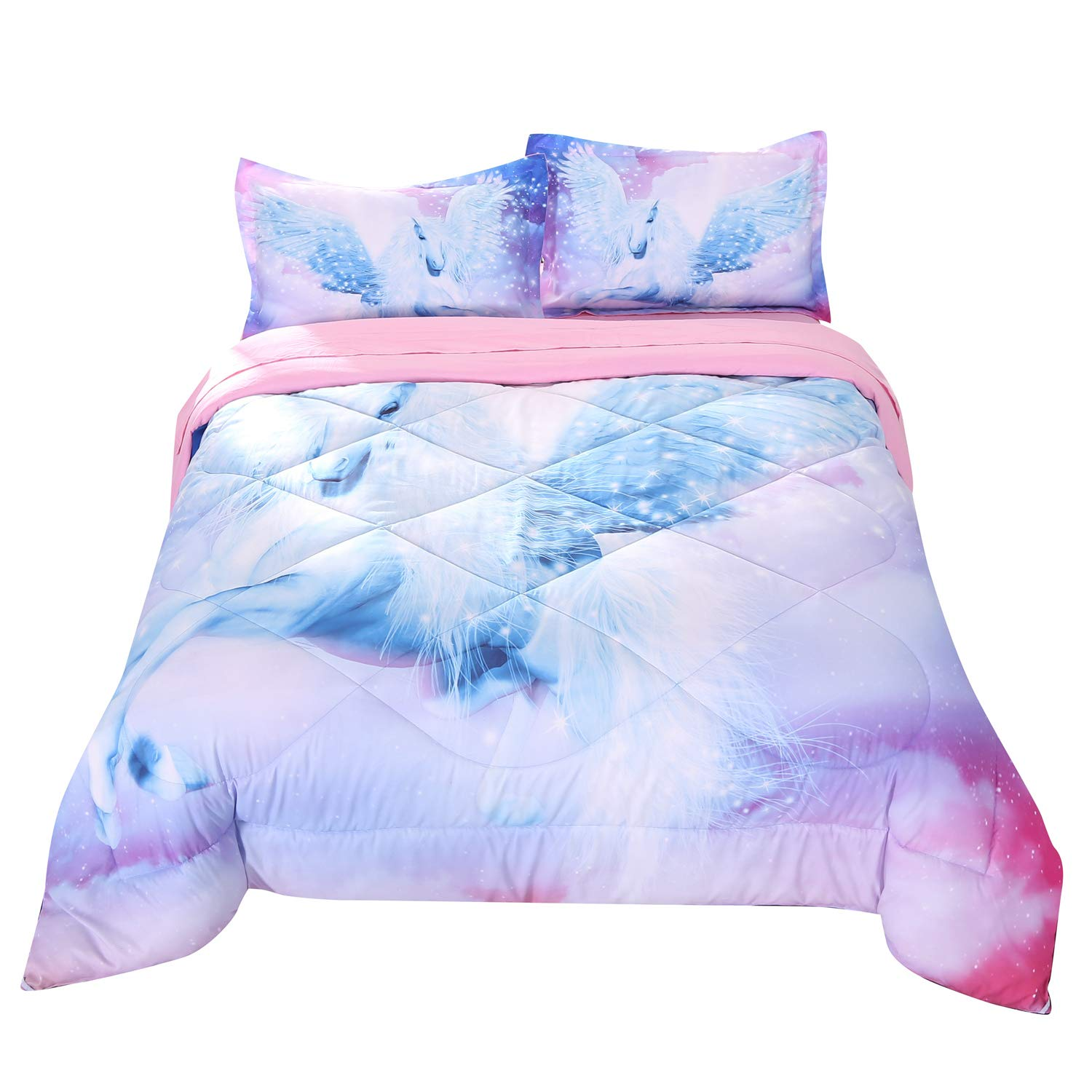 Flat Sheet Green Unicorn, Twin Fitted Sheet and 2 Pillow Cases for Teens Wowelife 3D Twin Fly Unicorn Comforter Sets 5 Piece Girl Bedding Set Unicorn Green Bedspreads with Comforter
