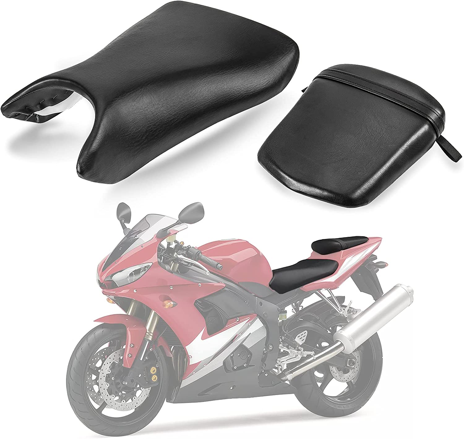 Front Seat Leather cover Rider Briver Pad Cushion For Yamaha YZF R1 2002-2003