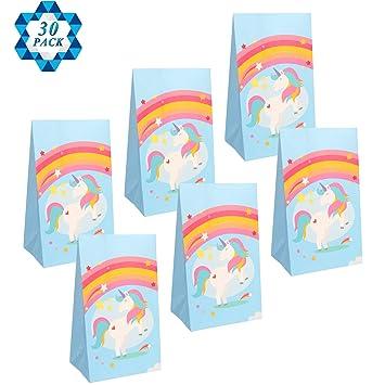 SOTOGO 30 unidades de bolsas de regalo de unicornio para ...