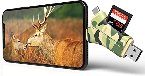 E-thinker Trail Camera Viewer 4 in 1 Game Camera Memory Card Reader-Trail Hunter View Hunting Photos and Videos or Any Wildlife Game Camera on Smartphone for iPad Mac Android,SD Micro SD