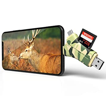 Arzopa Lector de Tarjetas de Memoria 4 en 1, Visor de cámara de Caza, Lector de cámara y vídeos, Conector Micro Adaptador USB 2.0 para iPhone, iPad, ...