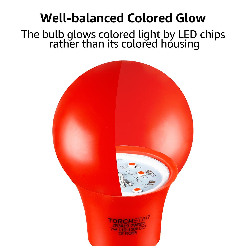 TORCHSTAR Bombilla LED de color rojo, A19, casquillo E26 de ...