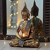 Bellissima statua di Buddha in bronzo con titolare per tealight, 33 cm