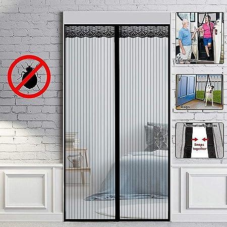 Negro Mosquitera Puerta Magnetica Corredera Cortina Mosquitera Magnética para Puertas Cortina De Sala De Estar La Puerta del Balcón Puerta Corredera De Patio,100x200cm: Amazon.es: Hogar
