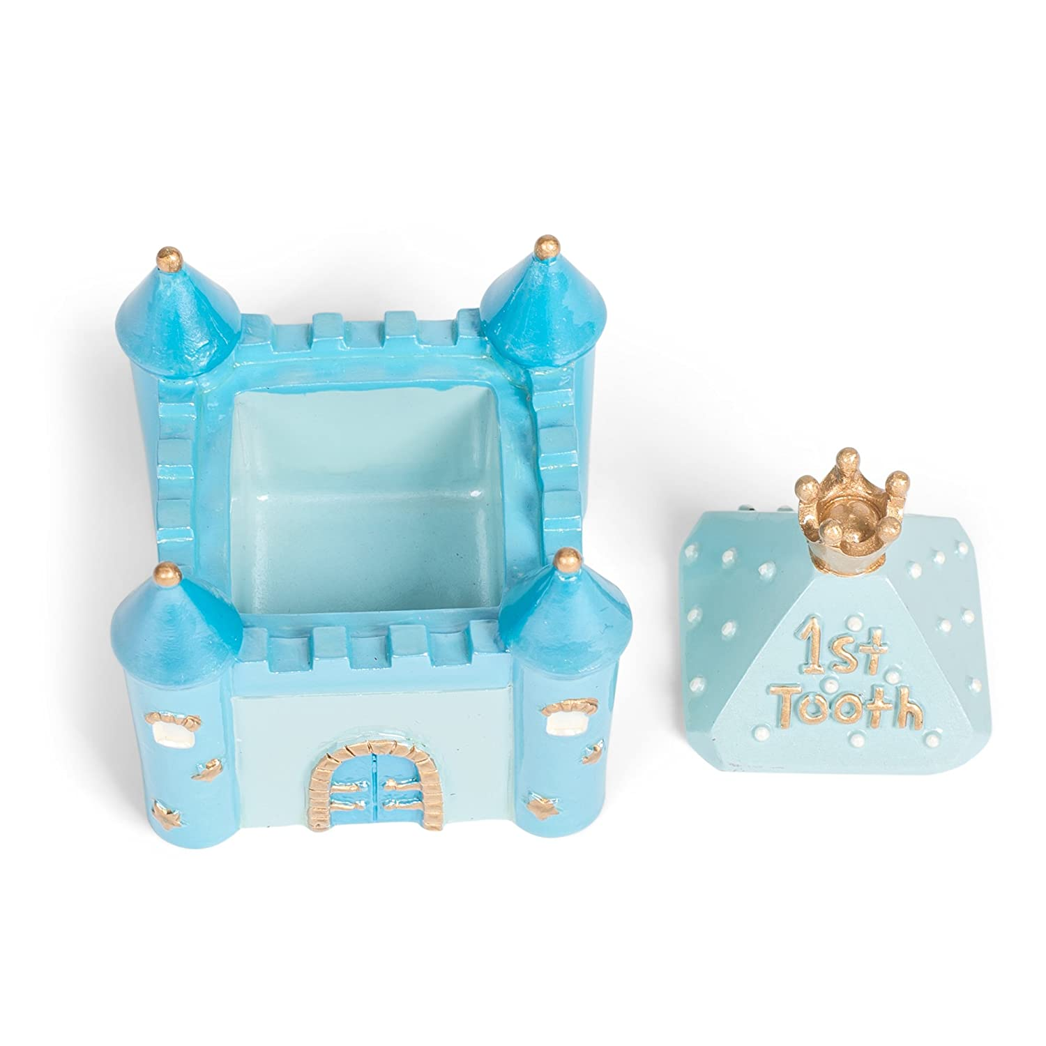 Blue Castle First Tooth and Curl 2 x 2.5 Inch Handpainted Resin Keepsake Box 2 Piece Set
