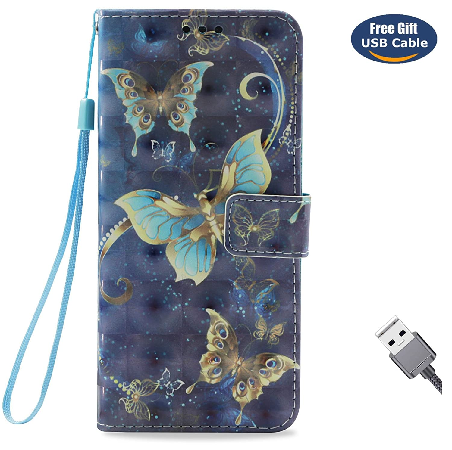Aireratze Huawei P20 Pro case,Huawei P20 Pro cover, Soft PU Leather [Glitter 3D Ultra Smooth Surface Cute Case Slim Flip Skin Cover for Huawei P20 Pro(Navy Blue Butterfly)+USB cable q2018912cai20009