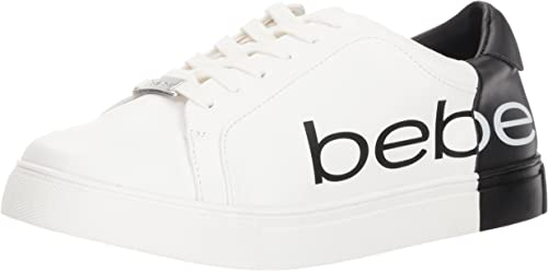 New Bebe Sport Women/'s Charley Lace-Up Logo Black Silver Sneakers Tennis Shoes