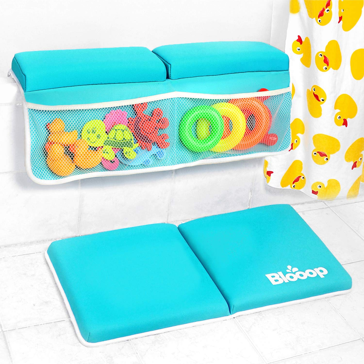 Bath Kneeler with Elbow Rest Pad Set (2-Piece), X-Long, Thick, Knee Cushioned Bathtub Support, Non-Slip Bottom, 4 Caddy Pockets, Blooop Bath Kneeling Pad by Blooop