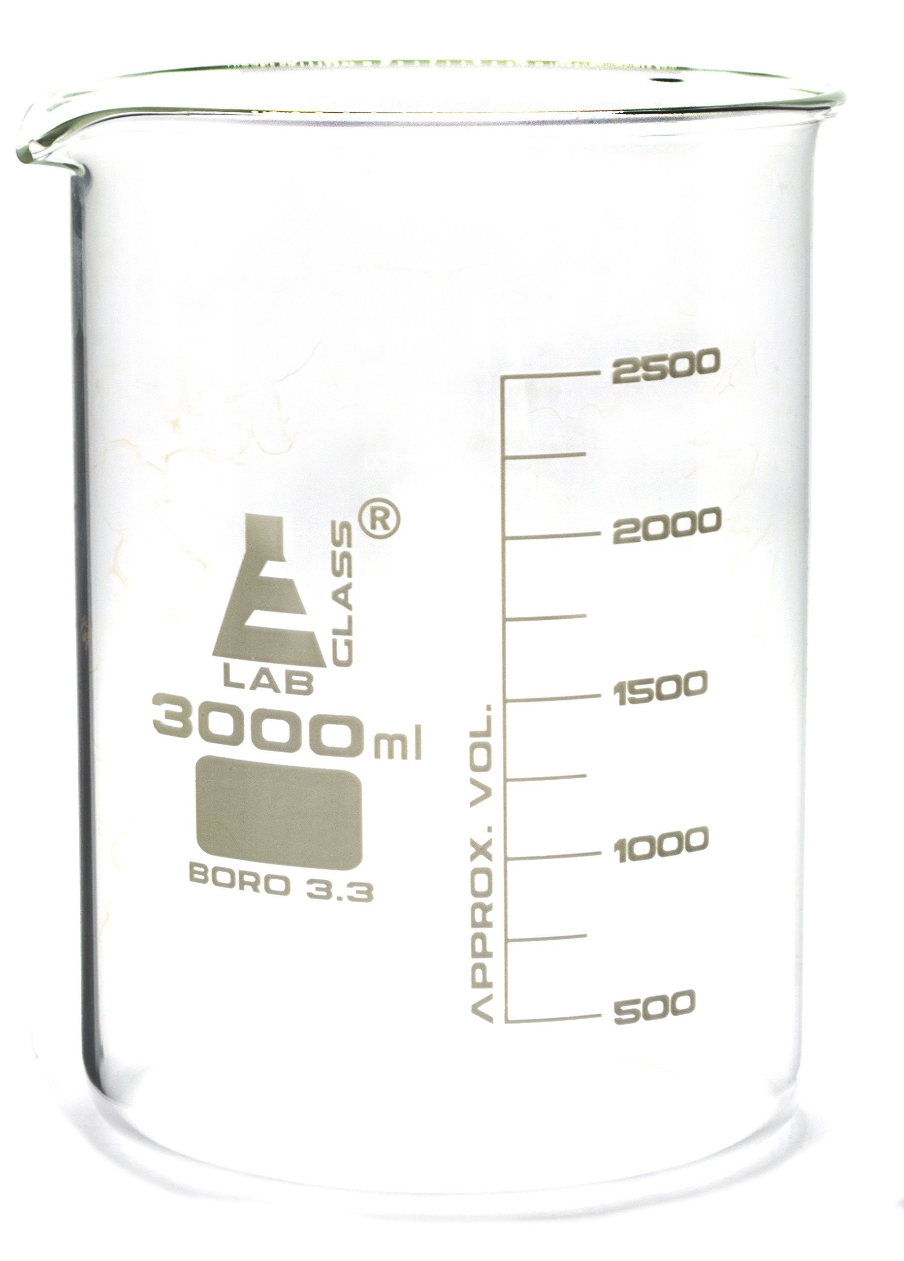 Beaker, 3000ml - Borosilicate Glass, Low Form, with Spout - 250ml Graduations - Eisco Labs