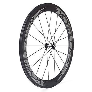 VCYCLE Nopea 700C Fibra de Carbono Bicicleta de Carretera Ruedas 60mm Copertoncino 23mm Ancho Shimano o Sram 8/9/10/11 Velocidad(Ruota Anteriore): ...