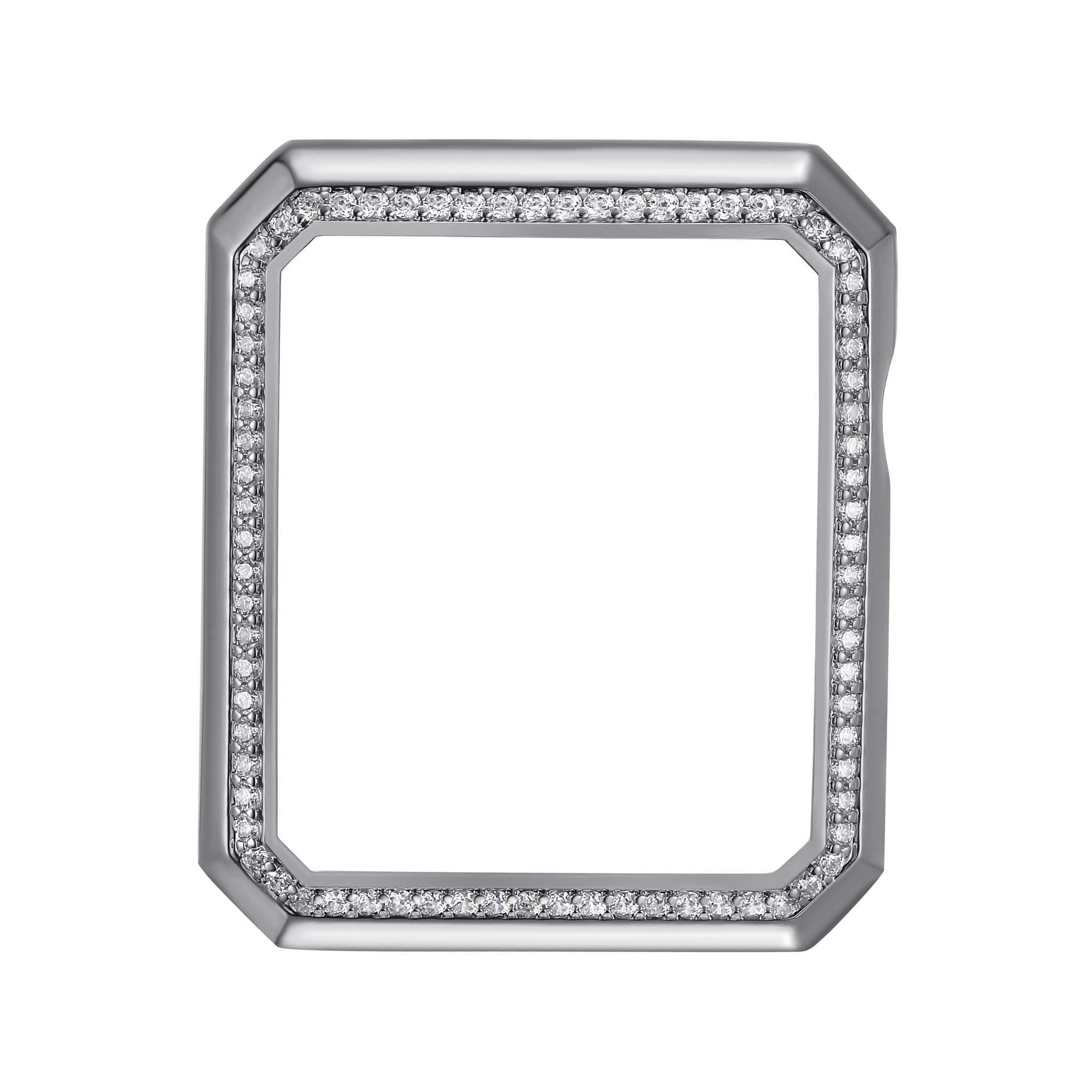 Silver Rhodium Plated Bronze Deco Halo Jewelry-Style Apple Watch Case with Swarovski Zirconia CZ Border - Small (Fits 38mm iWatch)