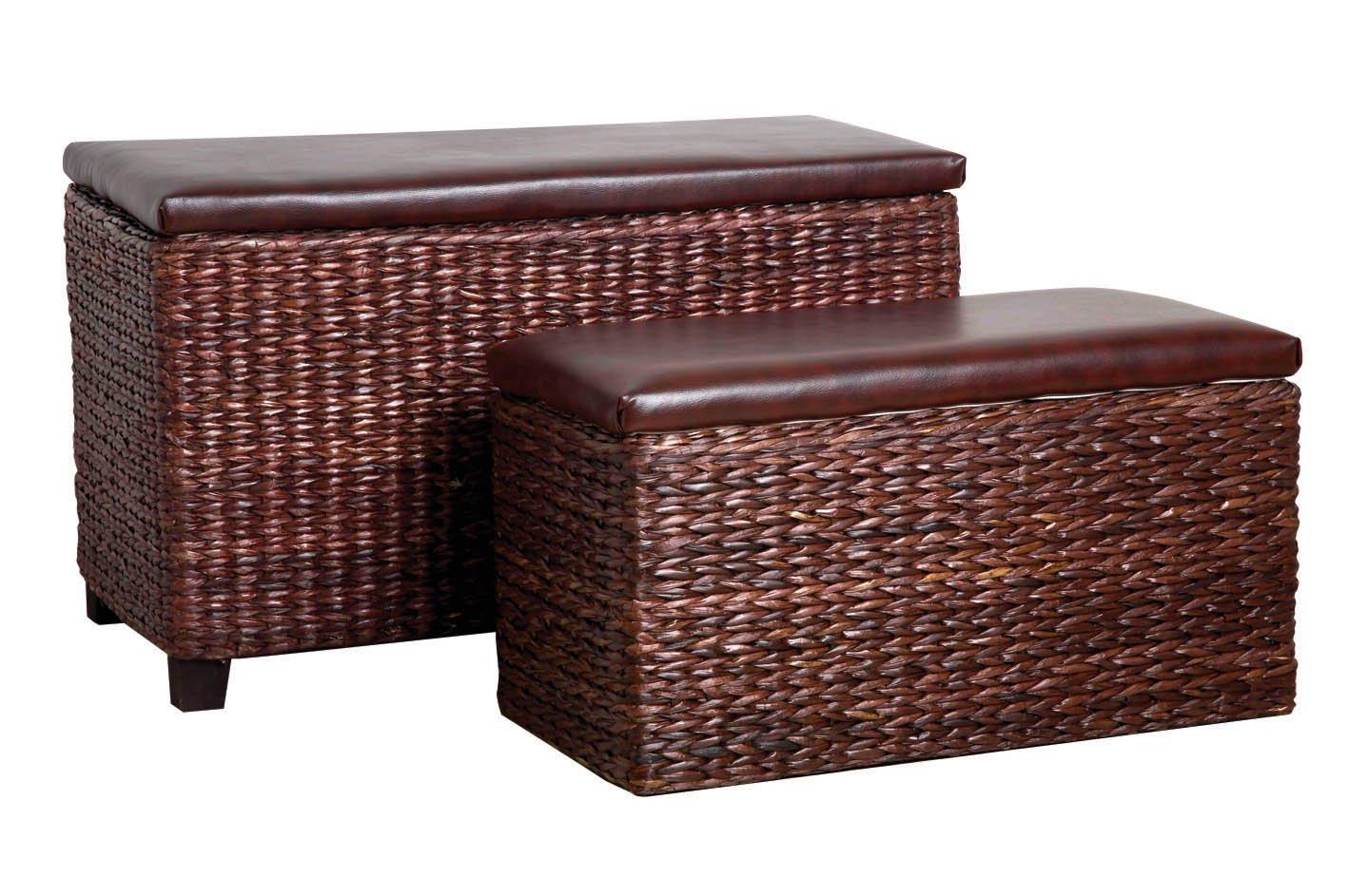 Premier Housewares Cattail Leaf Storage Seats - Set of 2, Brown 2401792